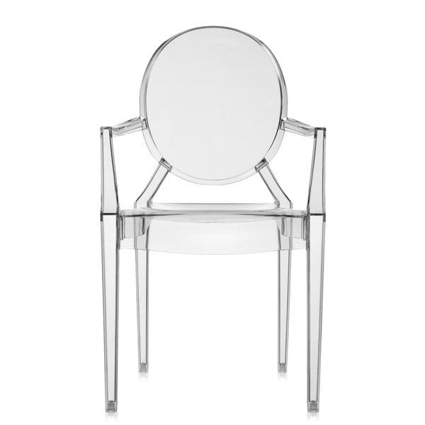 Plastová stolička Kartell Louis Ghost, dymovo sivá