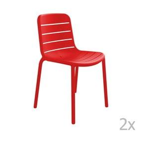Sada 2 červených záhradných stoličiek Resol Gina