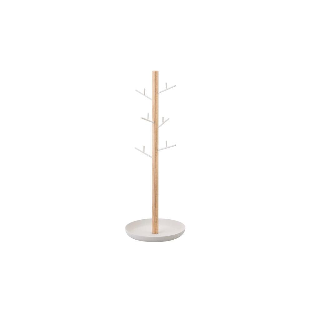 Biely stojanček na šperky s detailom z bukového dreva YAMAZAKI Tosca Branch