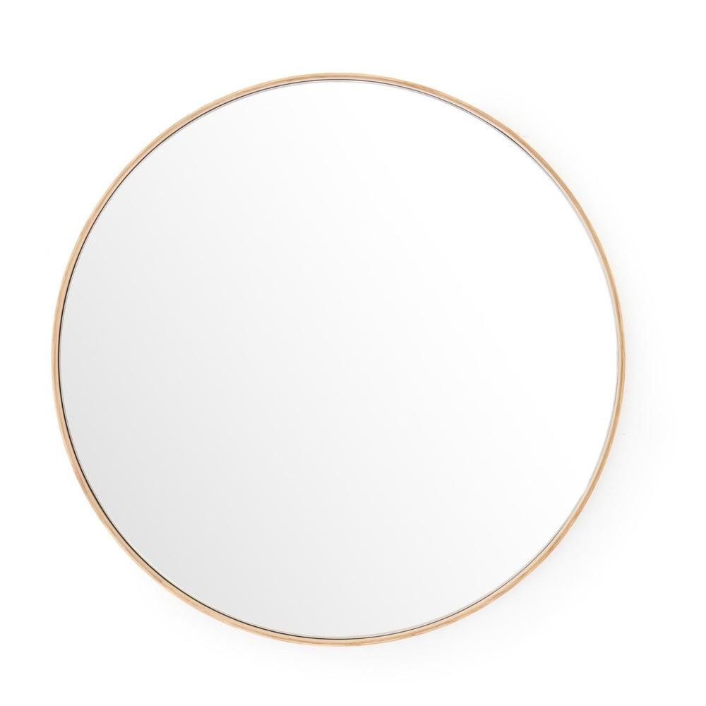 Nástenné zrkadlo s rámom z dubového dreva Wireworks Glance, ⌀ 66 cm