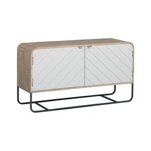 Hnedo-biely televízny stolík z masívneho mangového dreva Woodjam Chevron