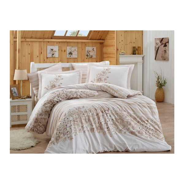 Obliečky s plachtou na dvojlôžko z bavlneného saténu Serena, 200 × 220 cm