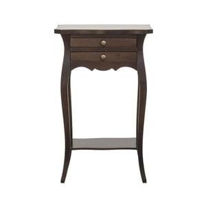 Drevený nočný stolík s 2 zásuvkami v dekore orechového dreva