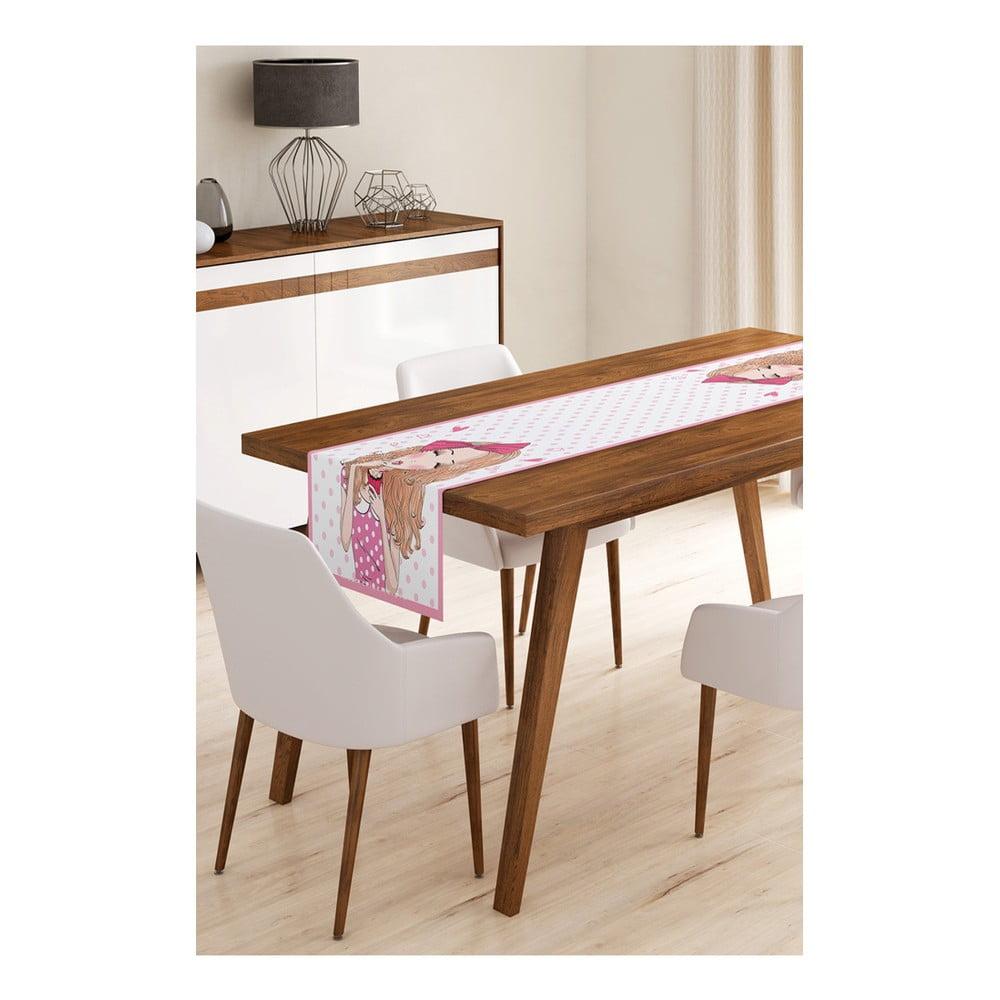 Behúň na stôl z mikrovlákna Minimalist Cushion Covers Curly Cute Girl, 45 × 145 cm