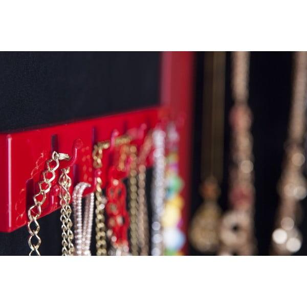 Závesné zrkadlo so šperkovnicou Adriana, červené