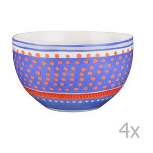 Sada 4 porcelánových misiek s bodkami Oilily 15 cm, modrá