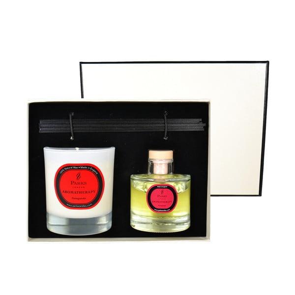 Darčeková sada sviečky a difuzéra Aromatherapy, vôňa granátového jablka
