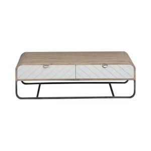 Hnedo-biely konferenčný stolík z masívneho mangového dreva Woodjam Chevron
