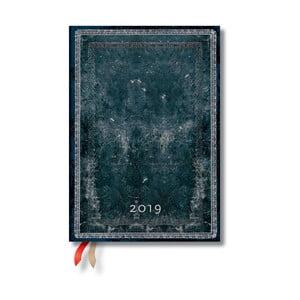 Diár na rok 2019 Paperblanks Midnight Steel, 13 x 18 cm