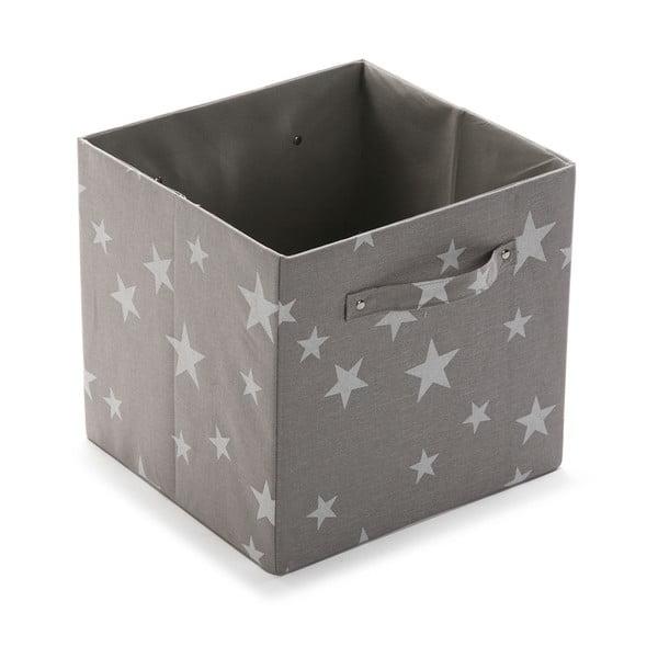 Štvorcový odkladací box Stars Light Grey