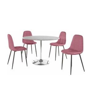 Sada okrúhleho jedálenského stola a 4 ružových stoličiek Støraa Terri Concrete