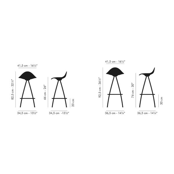Čierno-biela stolička s chrómovanými nohami Stua Onda, 76 cm