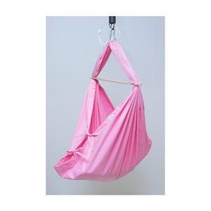 Ružová kolíska z bavlny so zavesením do dverí Hojdavak Baby (0 až 9 mesiacov)