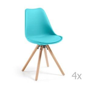 Sada 4 tyrkysových jedálenských stoličiek s drevenou podnožou La Forma Lars