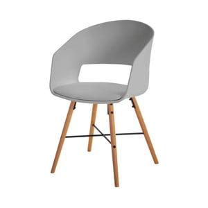 Sivá jedálenská stolička s bukovými nohami Interstil Luna