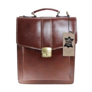 Hnedá kožená taška Chicca Borse Joanna