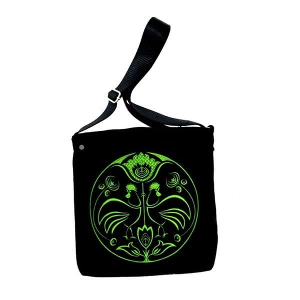Plstená vyšívaná taška Goshico Folk Kohúti, zelená