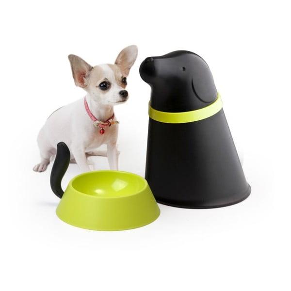 Miska so zásobníkom pre psov QUALY Pupp, čierna