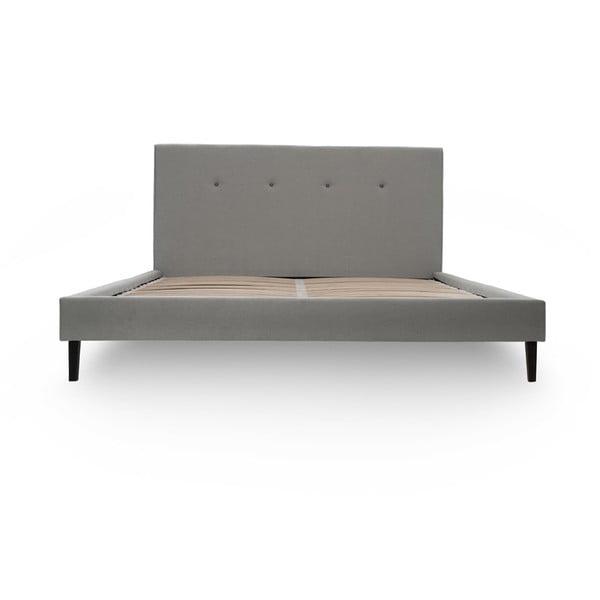 Sivá posteľ s tmavosivými gombíkmi a čiernymi nohami Vivonita Kent, 160 x 200 cm