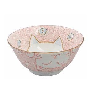 Ružová miska Tokyo Design Studio Cat, ø 15,3 cm