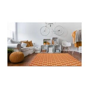 Oranžový vysokoodolný koberec vhodný do exteriéru Floorita Trellis, 133×190 cm