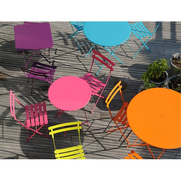 Červenooranžový skladací kovový stôl Fermob Bistro