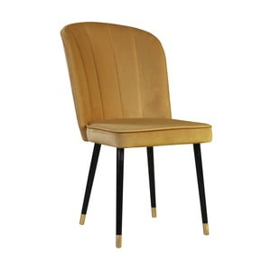 Horčicová jedálenská stolička s detailmi v zlatej farbe JohnsonStyle Leende