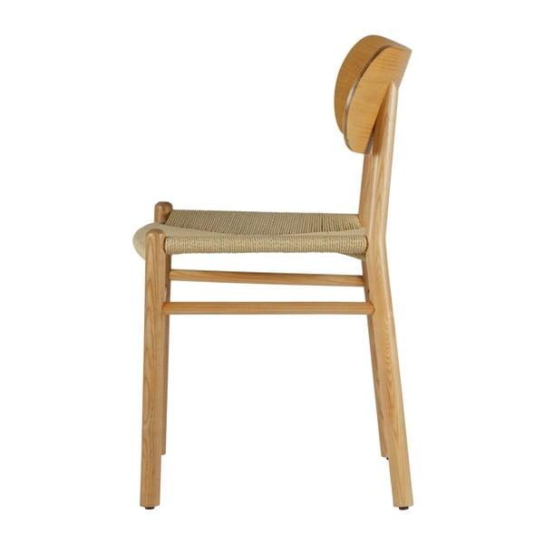 Prírodná jedálenská stolička z gumovníkového dreva s ratanovým sedadlom BePureHome Jointly