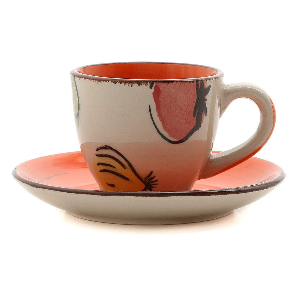 Sada 6 hrnčekov na kávu s tanierikmi z kameniny Kasanova Vegetable Orange