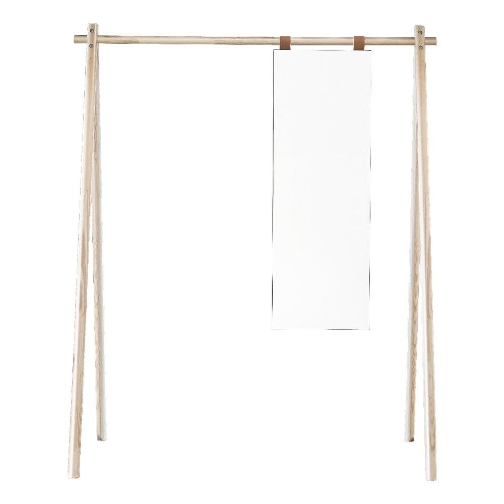 Vešiak z borovicového dreva so zrkadlom Karup Design Hongi Natural
