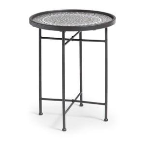 Čierny kovový odkladací stolík La Forma Adri, ⌀45cm
