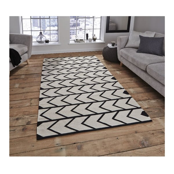 Čierno-biely koberec Think Rugs Manhattan, 150x230cm