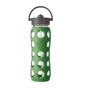 Sklenená fľaša na vodu so silikónovou slamkou a chráničom Lifefactory Grass, 650 ml