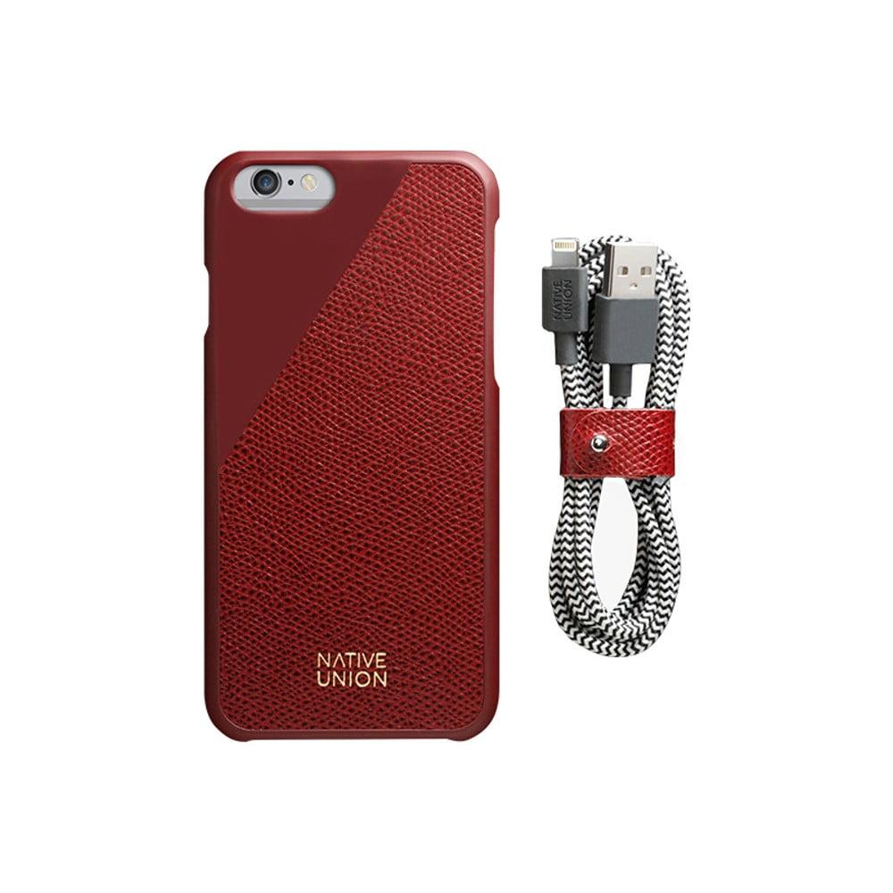 Set tmavočerveného obalu z pravej kože a nabíjacieho kábla pre iPhone 6 a 6S  Plus Native 9281aa46f39