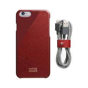 Set tmavočerveného obalu z pravej kože a nabíjacieho kábla pre iPhone 6 a 6S Plus Native Union Clic Leather Belt