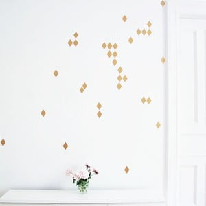 Samolepky na stenu Rauten Gold Glanz, 16 ks