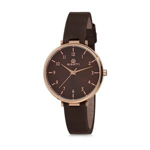 Dámske hodinky s čiernym koženým remienkom Bigotti Milano Catherine