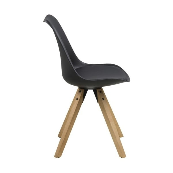Jedálenská stolička Dima, čierna a drevené nohy