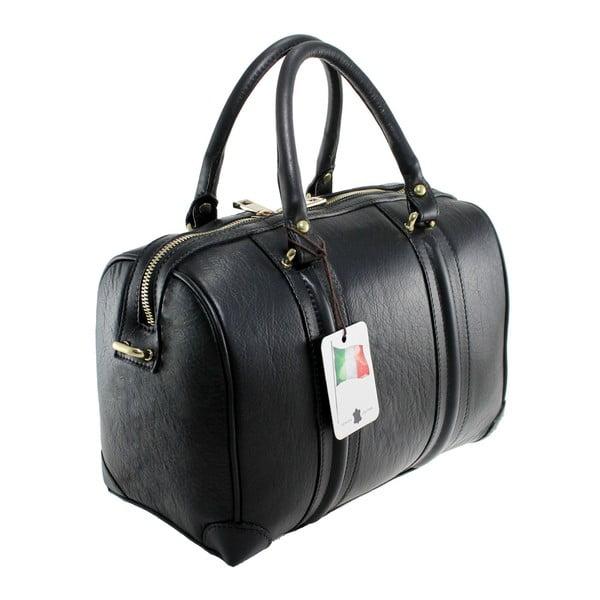 Čierna kožená kabelka Boston