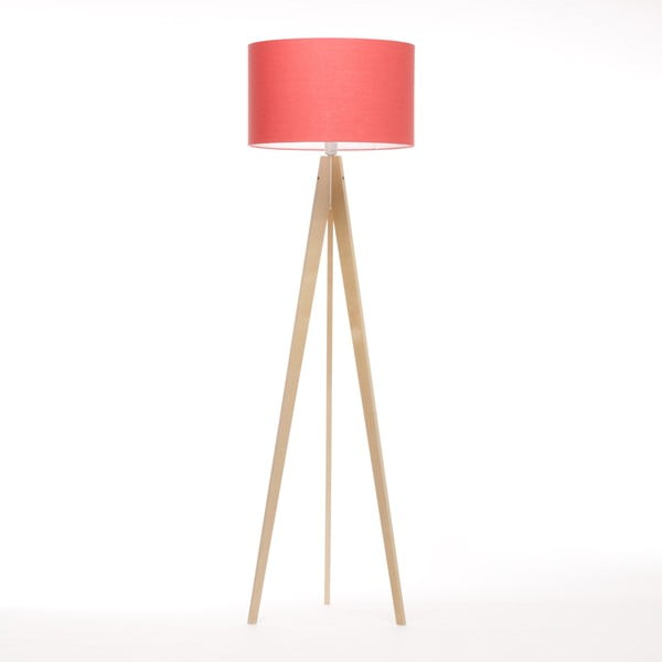 Stojacia lampa Artist Coral Red Linnen/Birch Natural,, 125x42 cm