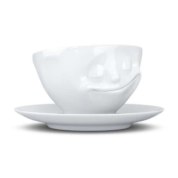 Biely šťastný porcelánový hrnček na kávu 58products, objem 200 ml