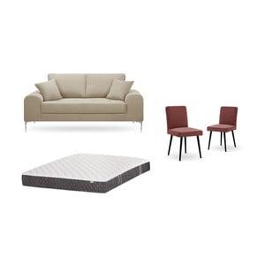 Set dvojmiestnej sivobéžovej pohovky, 2 tehlovočervených stoličiek a matraca 140 × 200 cm Home Essentials
