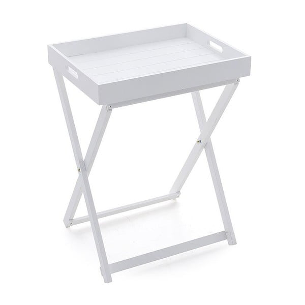 Drevený stolík s táckou White, 49x37x65 cm