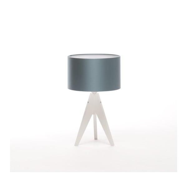 Modrá stolová lampa 4room Artist, biela breza lakovaná, Ø 25 cm
