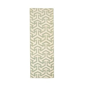 Vlnený koberec Kilim no. 307, 60x180 cm, zelený