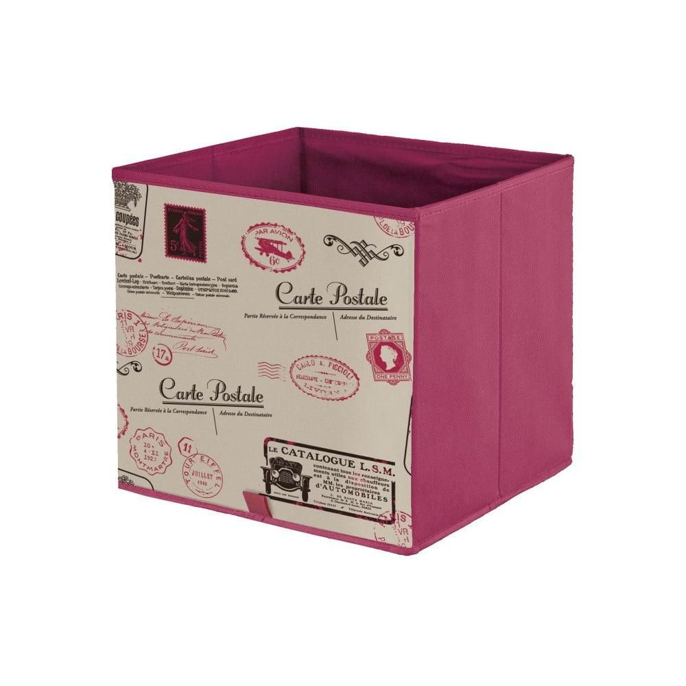 Červený úložný box Domopak Stamps, dĺžka 32 cm