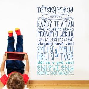 Dekoratívna samolepka na stenu Pravidlá detskej izby, modrá
