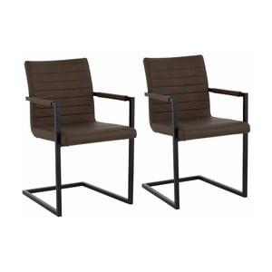 Sada 2 tmavohnedých jedálenských  stoličiek s opierkami Støraa Sandra