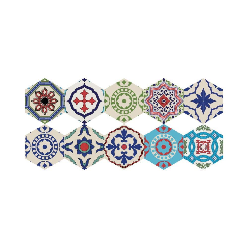 Sada 10 samolepiek na podlahu Ambiance Floor Stickers Hexagons Hannah, 40 × 90 cm