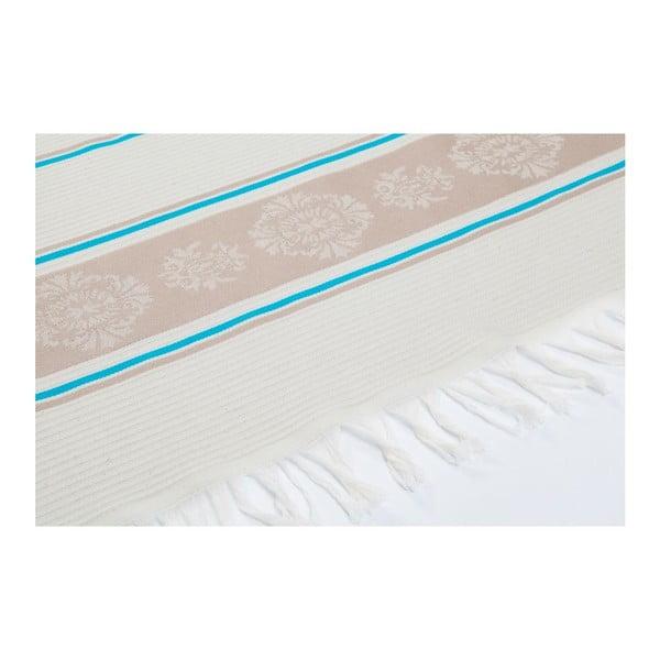 Modro-béžová hammam osuška Deco Bianca Loincloth Fife Blue, 80x170cm